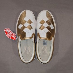 NWT VANS Classic Slip-on Woven Leather Sneakers